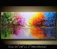 31ba7dee contemporary wall art,Palette Knife Painting, Colourful tree Painting,wall  decor Home Decor,Acrylic Textured Painting ON Canvas by Chen m01