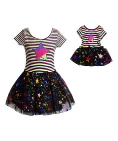 Look at this Black & Rainbow Star Tutu Set & Doll Outfit - Girls on #zulily today!