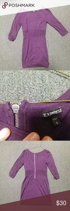 "Express Sweater Dress Small Purple Zipper Express Sweater Dress, worn a couple times with no visible signs of wear. From shoulder to bottom hem, dress is 34"" long, waist unstreched is 26"", and the shoulder to other shoulder measures 28"" across from seam to seam. Please let me know if you have any questions! Express Dresses Long Sleeve"
