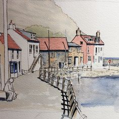 drawings - A quick demo piece to Finingley Art Society last weekthis is Staithes Pen And Watercolor, Watercolor Landscape, Landscape Paintings, Landscapes, Watercolor Paintings For Beginners, Watercolour Tutorials, Watercolor Architecture, Architecture Art, Art Drawings