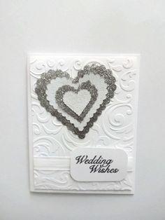 Wedding Card White & Silver Wedding Card por lilaccottagecards