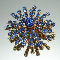 Vintage Brooch Coro Starburst Blue Rhinestone by zephyrvintage, $22.00