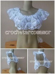 Fabulous Crochet a Little Black Crochet Dress Ideas. Georgeous Crochet a Little Black Crochet Dress Ideas. Crochet Collar Pattern, Col Crochet, Gilet Crochet, Crochet Tank Tops, Crochet Shirt, Diy Crafts Crochet, Crochet Ideas, Crochet Patterns, Popular Crochet