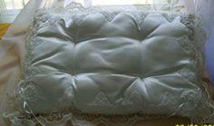 Vintage satin pillows white satin 18 x 13 pillow by NewtoUVintage