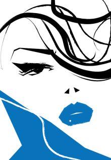 Fashion Illustration Girl Art Print Poster Beauty Blue Lips Classy Retro Mod Hair Makeup Cool Woman Pinup Portrait Home Edgy Wall — Jade Pilgrolio Illustration Girl, Illustration Artists, Cat Ideas, Mod Hair, Blue Lips, Star Pictures, Poster Prints, Art Print, Portraits