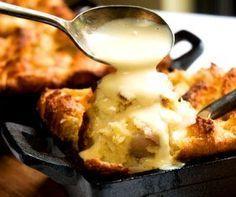 Banana Coconut Bread Pudding w/Bailey's Custard Sauce