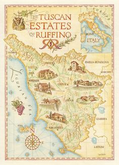 cool map illustration of the Tuscan Estates of Ruffino - winery, by Dave Stevenson