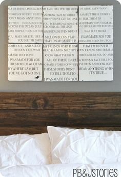 PBJstories: {How To} for the Wedding Song Lyrics Board (master bedroom)