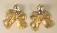 Gigantic Bows Gold Colored Metal and Imitation Rhinestone Clip On Earrings by JohnGermaine on Etsy