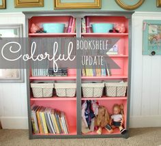 "colorful bookshelf update in the girls' room Fabulous colors! Behr ""flamingo dream"" and ""dark granite"" Cute doll clothes hanging idea Grey Bookshelves, Bookshelf Diy, Bookcases, Bookshelf Organization, Grey Shelves, Bookshelf Styling, Furniture Makeover, Diy Furniture, Toddler Rooms"