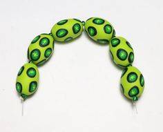 Lime Green Oval Focal Beads Handmade Polymer by SweetchildJewelry