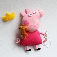 Peppa pig and her friends. Ill make any character of this cartoon for your baby. Their movable arms and tails :) The toy is made of felt The price shown is for one toy Size 5 inches