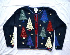 UGLY Christmas Sweater Large With Christmas Trees by missjoylee, $30.00