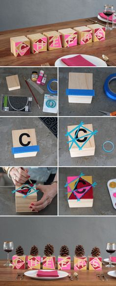 How to DIY geometric block centerpieces—spell out words with vinyl lettering, or use single blocks as table numbers.