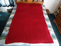 Claret Hand Knitted Chevron Afghan Blanket by CraftsbyCummins