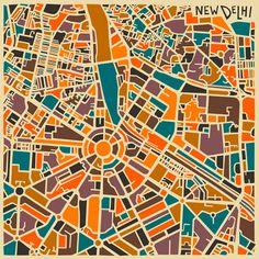 os mapas abstratos de jazzberry blue