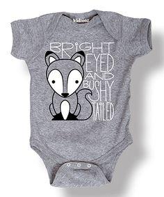 Heather Gray \'Bushy Tailed\' Fox Bodysuit - Infant