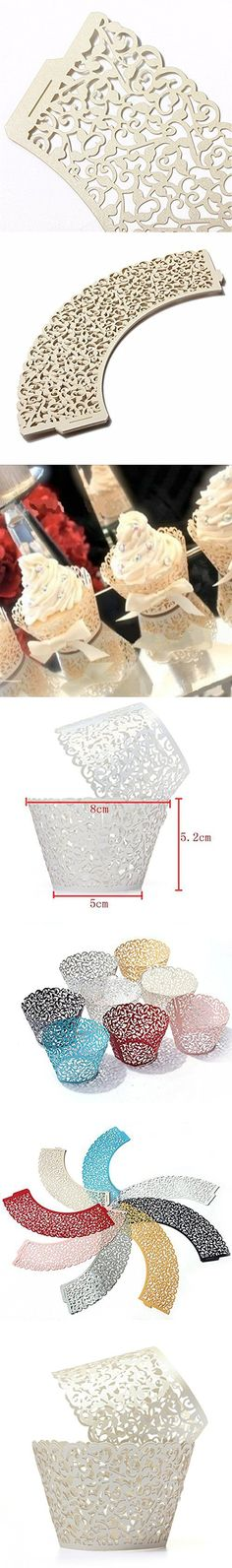 HUAL Cupcake Wrappers 100 Filigree Artistic Bake Cake Paper Cups Little Vine Lace Laser Cut Liner Baking Cup Muffin Case Trays for Wedding Party Birthday Decoration (Cream)