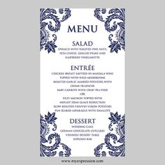 Elegant Wedding Menu Card with Flower Vine by Leveret Paperie ...