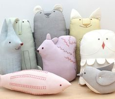 Try sewing these adorable Scandinavian stuffies with beautiful hand embroidery. A handmade stuffed animal menagerie made from beautiful Oakshott cotton fabrics. Sewing for children can be so much fun! sewing | stuffies | embroidery