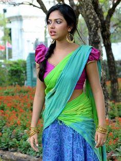 Amala Paul in Green Cotton Half Saree