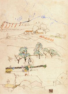 Landscape Egon Schiele - 1915 Private collection Drawing - chalk Height: 45 cm (17.72 in.), Width: 32.5 cm (12.8 in.)