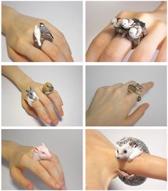 Super cute animal rings.......could try making these with poly clay