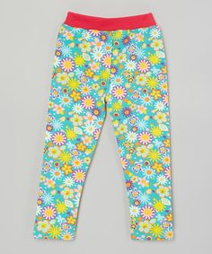 Another great find on #zulily! Blue Abstract Daisy Leggings - Infant, Toddler & Girls #zulilyfinds