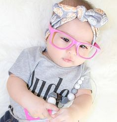 Finish your Smash Cake outfit or any fun occasion with these trendy frame baby glasses! These plastic glasses have no lens so they are safe for your little one to handle.
