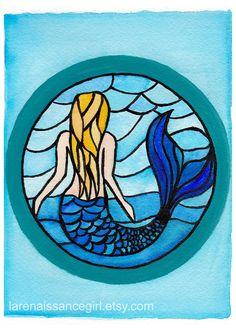 Stained Glass Mermaid / Mermaid Art Print / Michael Anderson