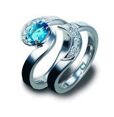 Ocean inspired wedding band and engagement ring in my favorite color! MUST HAVE IT