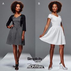 Fashion Face-Off: Which style of dress would you most likely to sew/wear: A.) Color Block or B.) Fabric Block with Overlay? #simplicitypatterns #projectrunway #fashion #diydress #simplicity8015