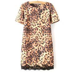49,90EUR Kleid in Leopardenmuster Leopardenkleid mit Spitze