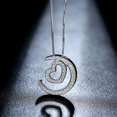 Heart and Crescent Pendant Women's Necklace.http://www.vancaro.com/
