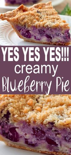 CREAMY BLUEBERRY PIE Creamy Blueberry Pie has a layer of custard made with sour cream , not milk, that makes it not only creamy and blueberry delicious, but very easy to make. Blueberry Cream Pies, Blueberry Pie Recipes, Easy Blueberry Desserts, Blueberry Torte, Blueberry Bread, Mini Desserts, Easy Desserts, Health Desserts, Desserts With Sour Cream