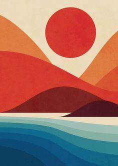 pop art Seaside Art Print by Jay Fleck. World - art Painting Inspiration, Art Inspo, Doodle Drawing, Seaside Art, Plakat Design, Sea Art, Art Pop, Grafik Design, Art Paintings