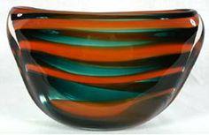 Leerdam Art Glass Horizontal Stripe Vase Meydam