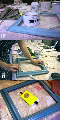 diy hand distressed painted picture frame