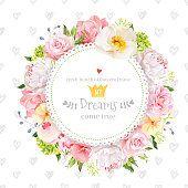 Piwonia, Róża, Orchidea, goździk, kamelia, Hortensja Wektor wzór karty okrągłe