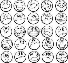 Ilustración del vector del libro de colorear de caras emocionales