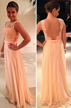 Wholesale Peach Prom Dresses Sheer Lace Chiffon A-line Pageant Bateau Open Back Floor Length Party Gowns BO3384