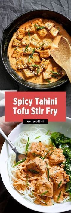 Spicy Tahini Tofu Stir Fry This tofu stir fry recipe is ideal for a quick vegetarian or vegan meal for two. Tofu cubes are stir fried in sesame oil to golden crisp, and then drenched in a creamy tahini-sriracha sauce for a s… - Delicious Vegan Recipes Easy Healthy Recipes, Veggie Recipes, Asian Recipes, Whole Food Recipes, Vegetarian Recipes, Cooking Recipes, Protein Recipes, Recipes With Tahini, Spicy Tofu Recipes