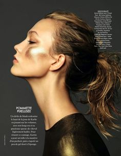Intense gold makeup on Karlie Kloss // Elle France, Photo by Nico