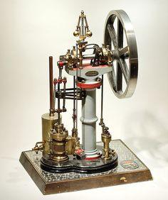 1 - Vertikale Betriebsmaschine von Benson, England um 1850  / Model steam engine