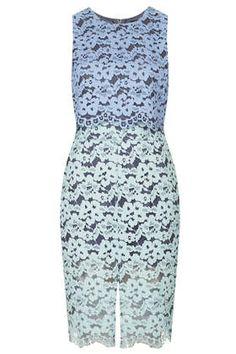 Two-Tone Lace Midi Dress