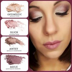 Younique AngelaTheMakeupMomma ivory (optimistic) and champagne (antsy), paired with rose (slick) and mauve maroon (agile). Zombie Makeup, Makeup Geek, Love Makeup, Makeup Inspo, Makeup Remover, Makeup Ideas, Makeup Tips, Younique Eyeshadow, Eyeshadows
