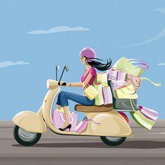 New Vintage Bike Illustration Vespa Scooters Ideas Vespa Roller, Shopping Pictures, Desenho Pop Art, Bike Illustration, Vespa Girl, Vespa Scooters, Scooter Scooter, Fashion Wall Art, Animation