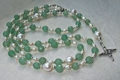 Dominican Rosary Beads with St Brigids Cross, Faceted Aventurine, Freshwater Pearls and Sterling Silver