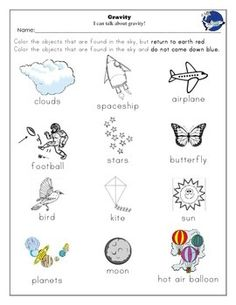 Gravity Unit and Worksheets Kindergarten | Worksheets, The Sky and ...