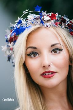 July 4th, 4th of July photo shoot, stars, star head piece, red white & blue, American, senior portrait photography, red lips, Delray Beach photographer
